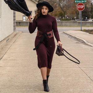 Mango Dresses - Burgundy Midi Sweater Dress